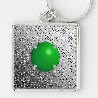 Damassé argentée avec une pierre gemme de jade de porte-clés