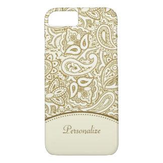 Damassé de luxe de Paisley d'or et d'ivoire avec Coque iPhone 7