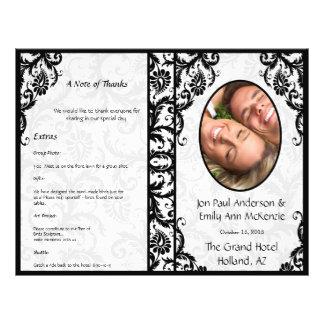 Damassé de noir de programme de mariage de photo prospectus 21,6 cm x 24,94 cm