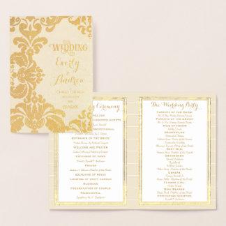 Carte Dorée Damassé de PROGRAMME de MARIAGE de feuille d'or