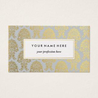 Damassé d'or sur le carte de visite gris de motif