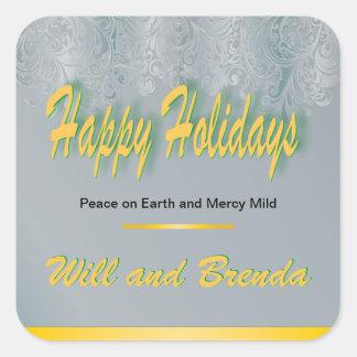 Damassé douce de pitié bonnes fêtes sticker carré