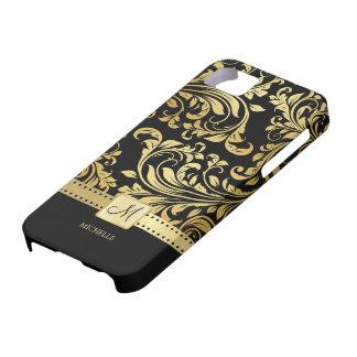 Damassé élégante de noir et d'or avec le étuis iPhone 5