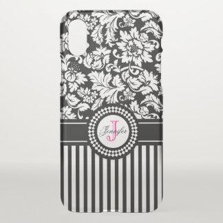 Damassé et rayures florales noires et blanches coque iPhone x