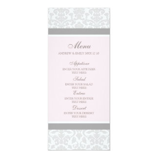 Damassé florale grise de rose de menu de mariage carton d'invitation  10,16 cm x 23,49 cm