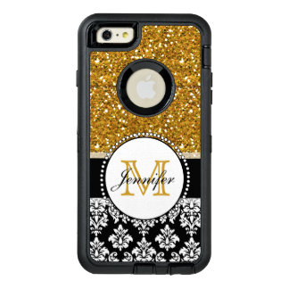 Damassé Girly de noir de scintillement d'or Coque OtterBox iPhone 6 Et 6s Plus