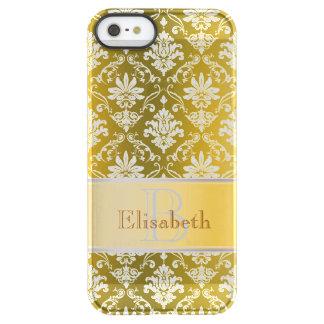 Damassé jaune de monogramme et blanche d'or coque iPhone permafrost® SE/5/5s