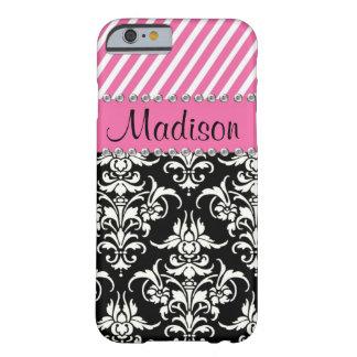 Damassé noire et blanche/caisse rose de fausse pie coque iPhone 6 barely there