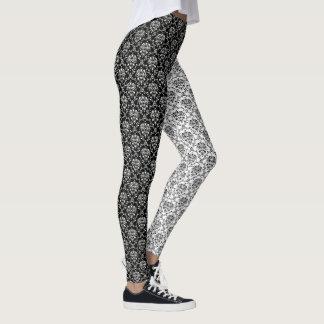 Damassé noire et blanche d'opposúx de miroir leggings