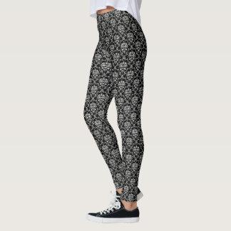 Damassé noire et blanche leggings