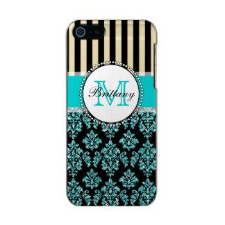Damassé turquoise de scintillement d'Aqua moderne Coque iPhone 5 Incipio Feather® Shine