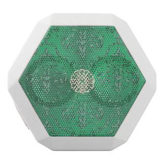 Damassé verte irlandaise avec le noeud de Celtic Haut-parleurs Blancs Sans-fils
