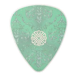 Damassé verte irlandaise avec le noeud de Celtic Médiator En Polycarbonate