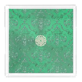 Damassé verte irlandaise avec le noeud de Celtic Plateau En Acrylique