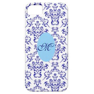 Damassé vintage chic Girly bleue/blanche de Coque Case-Mate iPhone 5