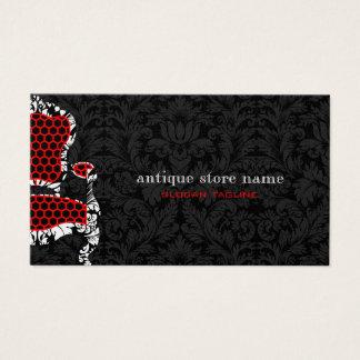 Damassés de fleur noire et blanche avec la chaise cartes de visite