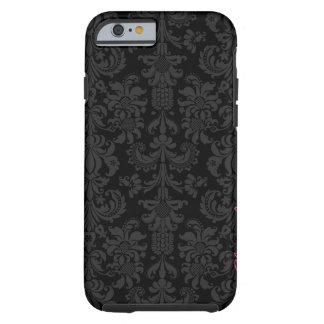Damassés florales vintages noires et gris-foncé coque tough iPhone 6