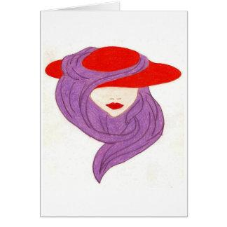 dame dans le chapeau rouge carte de vœux