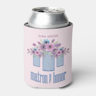 Dame de honneur florale bleue de pot de maçon rafraichisseur de cannettes