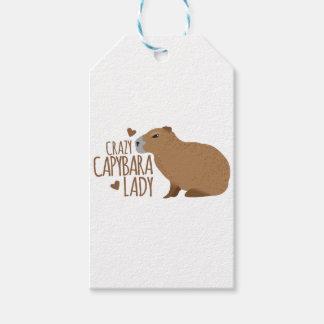 dame folle de capybara étiquettes-cadeau