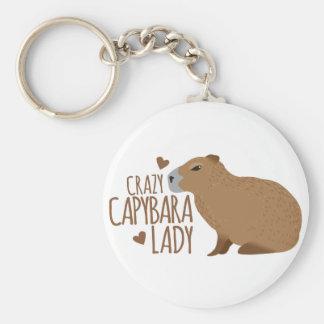 dame folle de capybara porte-clés
