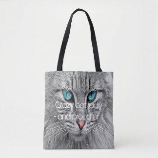 Dame folle de chat, sac fourre-tout fait sur