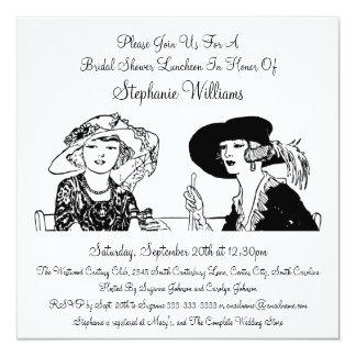 Dames vintages avec la douche nuptiale élégante de carton d'invitation  13,33 cm