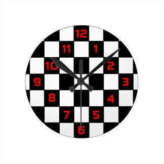 Damier blanc noir - horloge murale