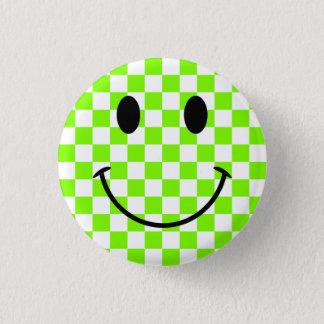 Damier Chartreuse et visage souriant noir Badge Rond 2,50 Cm