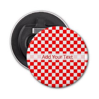 Damier classique rouge et blanc par STaylor Décapsuleur