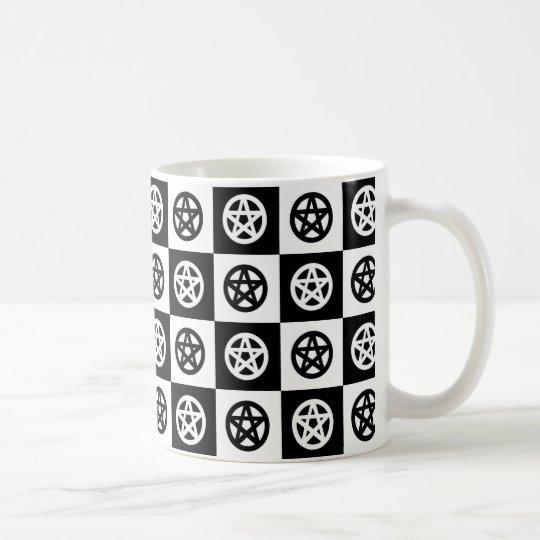 Damier païen de pentagramme mug blanc