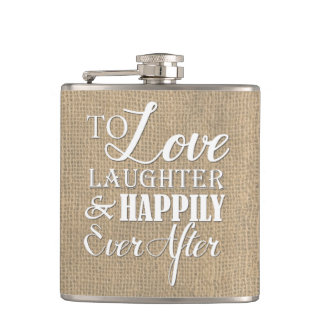 D'amour de rire mariage de toile de jute flasques