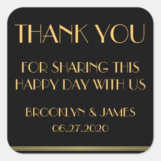 Dank u de Gouden Zwarte Grote Stickers van het