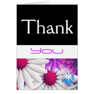 """""""dank u"""" roze blauwgroen huwelijksverjaardag wenskaart"""