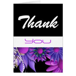 """""""dank u"""" roze zwarte huwelijksverjaardag wenskaart"""