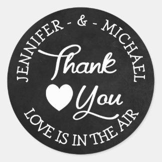 Dank u Zwart Bord Gepersonaliseerd Huwelijk Ronde Sticker