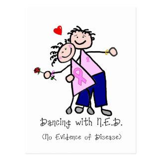 Danse avec N.E.D. - ruban rose de cancer du sein Carte Postale