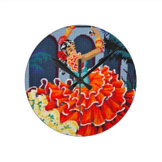 Danseur de flamenco dans l'horloge murale de horloge ronde