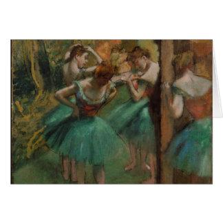 Danseurs d'Edgar Degas roses et carte de voeux