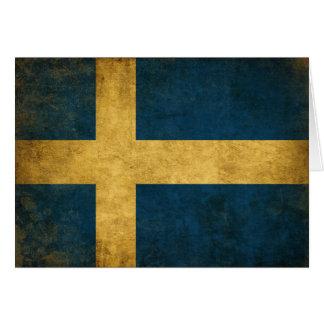 DAO de salutation avec le drapeau suédois vintage Carte