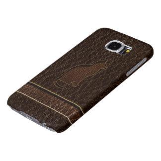 Dark van de Kat van de leder-blik Samsung Galaxy S6 Hoesje
