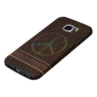 Dark van de Kleur van de Vrede van de leder-blik Samsung Galaxy S6 Hoesje
