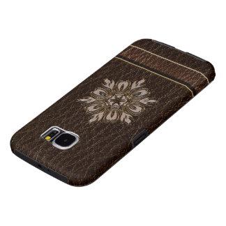 Dark van de Ster van de Bloem van de leder-blik Samsung Galaxy S6 Hoesje