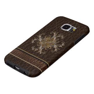Dark van de Ster van de leder-blik Samsung Galaxy S6 Hoesje
