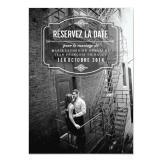 Date de La de Classique et d'Élégante Réservez Carton D'invitation 12,7 Cm X 17,78 Cm