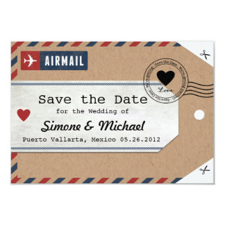 Date d'économies d'étiquette de bagage de par carton d'invitation 8,89 cm x 12,70 cm