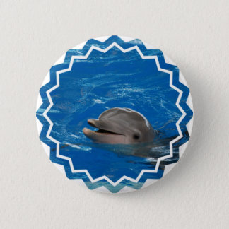 Dauphin aimable badge rond 5 cm