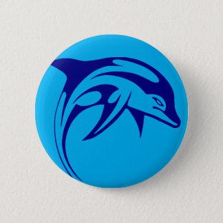 Dauphin bleu badge rond 5 cm