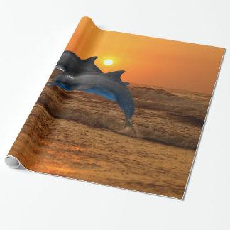 Dauphin de Bottlenose au coucher du soleil Papier Cadeau