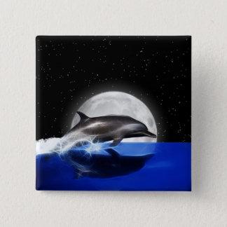 Dauphin de lune badge carré 5 cm